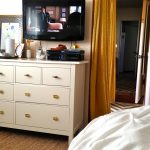 adorable white ikea dresser vintage cabinet idea with golden knobs and yellow curtain and creamy area rug and wooden floor and tv and table lamp