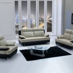 adorable white living room design with simple and classy white black sofa design with unique glass window and black area rug and glass coffee table