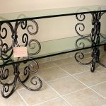 adorable wrought iron sofa table with glass top in long rectangular shape plus tiling floor ideas
