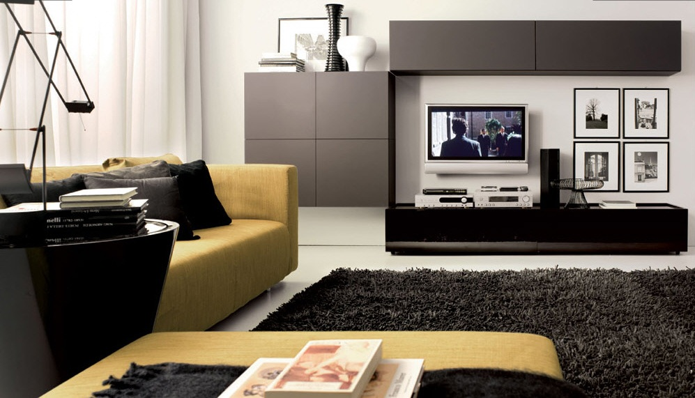 Adorablemodern Living Room Design With Floating Gray Cabinet And Tv Console  And Yellow Couch Idea With