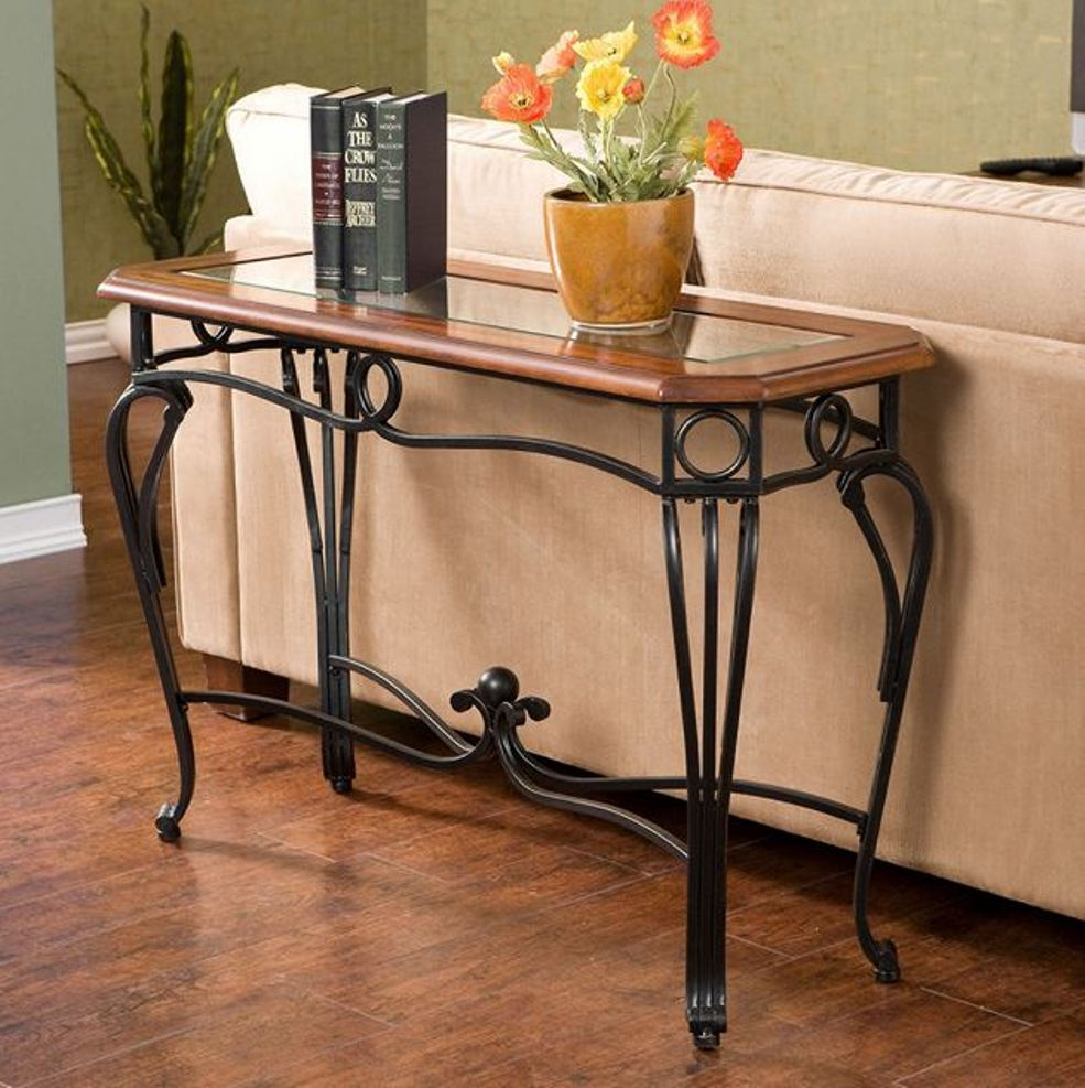 Wrought iron sofa table that will fascinated you homesfeed for Metal console tables glass top