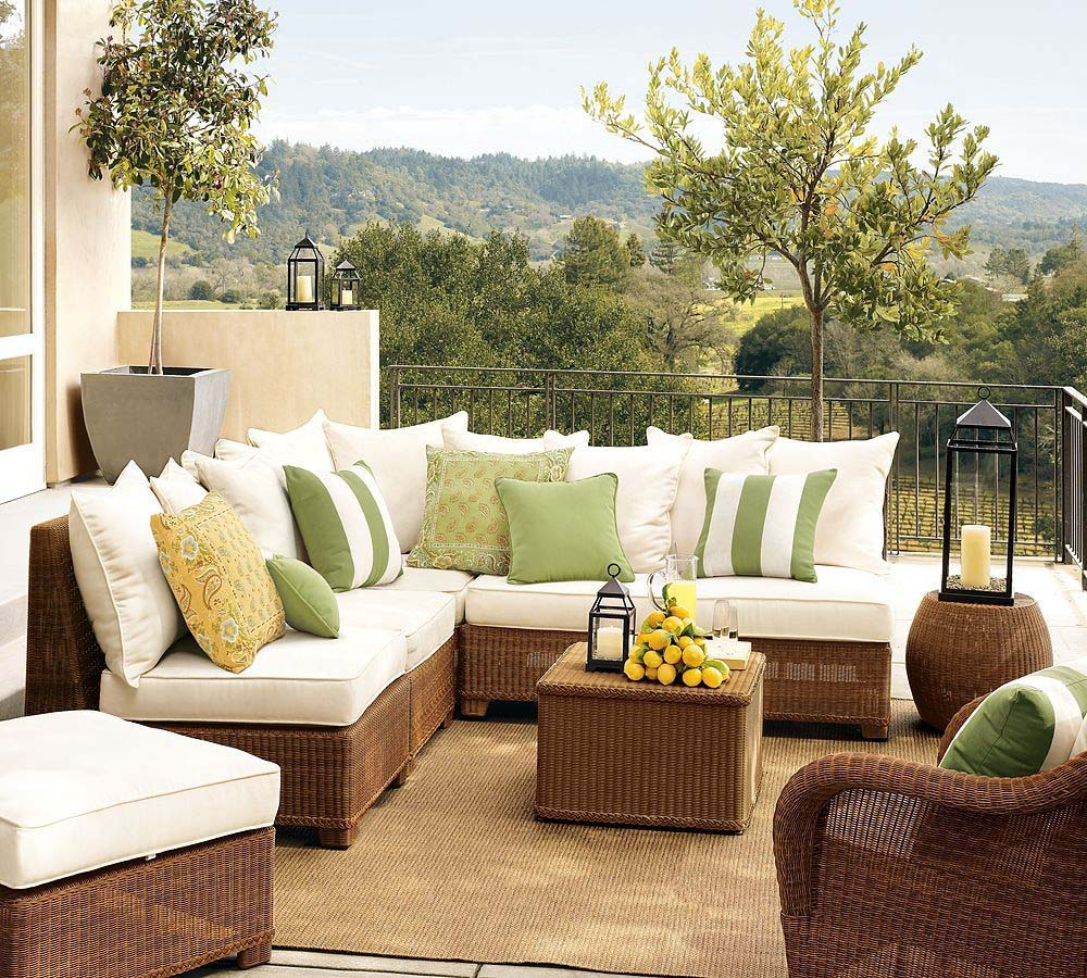 Balcony furniture ideas - Amazing Balcony Ideas With Sectional Sofa And Coffee Table Plus Stool And End Table With Unique