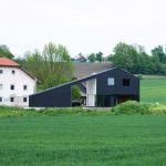 amazing black sided small farm house design with open plan and white accent and shrub and grassy meadow