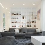 amazing interior design with floor to ceiling bookcase in the living room with gray sectional sofa design and open concept