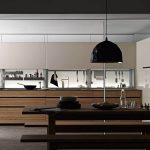 Amazing Italian Kitchen Design With Wooden Cabinetry And Wall Racks Cutlery And Big Black Pendant And Wooden Dining Table Set With Bench And Wine Storage