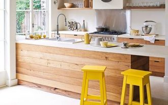amazing modern retro kitchen design with wooden cabinetry and yellow stools and white top and glass window and wall racks