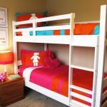 amazing orange custom lamp shade idea in bedroom with bunk bed and orange bedding and yellow painted wall