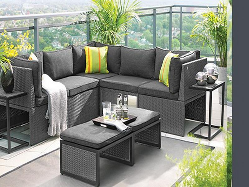 Apartment Balcony Furniture In Grey With Sectional Outdoor Sofa And Yellow Cushions Plus Coffee Table