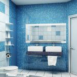 aquatic blue urban bathroom idea with small mosaic tile siding decoraton and floating vanity with double sinks and frameless wall mirror and wall racks