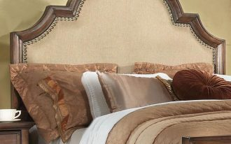awesome bedding set combined with upholstered headboard with nailhead trim for admirable bedding ideas and wooden nightstand