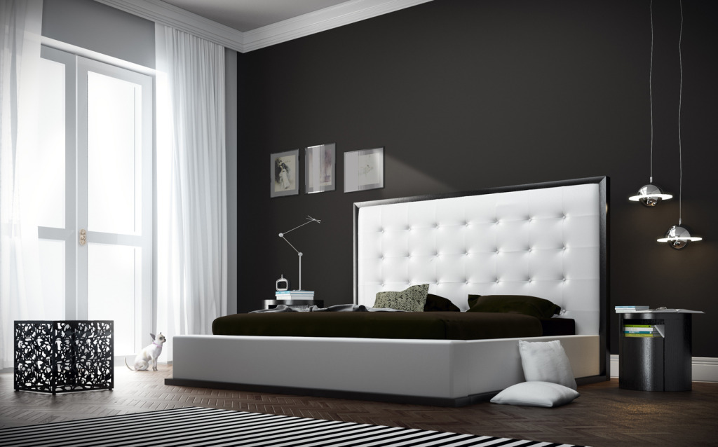 awesome bedroom ideas with modern king size bed frame and extra large headboard plus round black