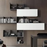 awesome black and white wooden floating bookcase design in the living room with closed and open style with desk