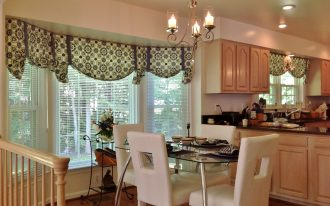awesome contemporary window valances with blinds decorated on bay windows  together with modern dining room with glass top dining table and white leather chairs
