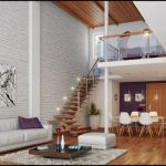 awesome interior design with large living room and white brick wall accent and wooden floor and wooden staircase and double height interior