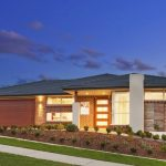 awesome single storey house deisgn with lighting idea and outdoor space graden and wooden siding