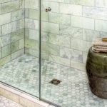 awesome walk in shower bathroom ideas with hexagonal ming green marble tile for floor ideas and brick pattern wall ideas