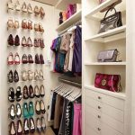 awesome white dressing room idea with wall shoes racks and bags storage and clothes hanger in small room