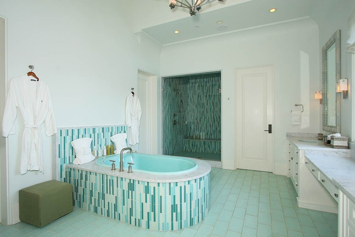 Bathroom Design With Best Paint Color For Small Room With Aquatic Blue  Flooringand Bathtub And White