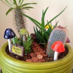 Best And Simple Green On Pot Succulent Planter Design With Cactus And Artificial Mushroom And Mini Landscape
