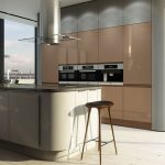 Best Italian Kitchen Design With White Island And Beige Cbainetry And Wooden Stool And Breakfast Nook And Glass Window