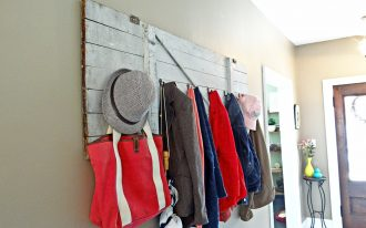 best wooden rustic coat rack idea with hooks for tote bags  coat hats and umbrella in white interior design with diamod shaped tile flooring