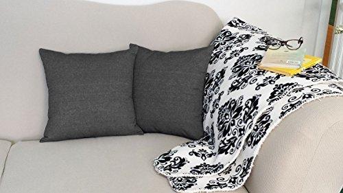 Black Denim Square Throw Pillows Set Of Two