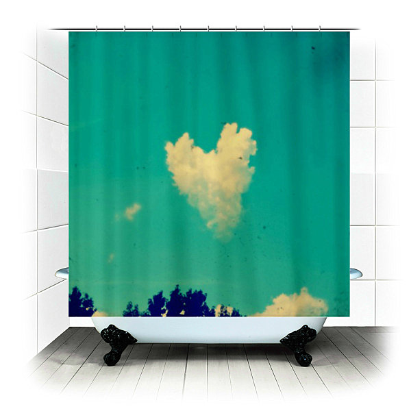 Blue Sky Themed Fabric Shower Curtain Idea