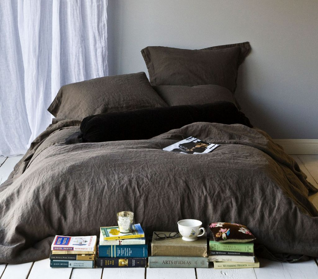 Brown Restoration Hardware Linen Sheets In Simple Design Andfy Big  Pillows