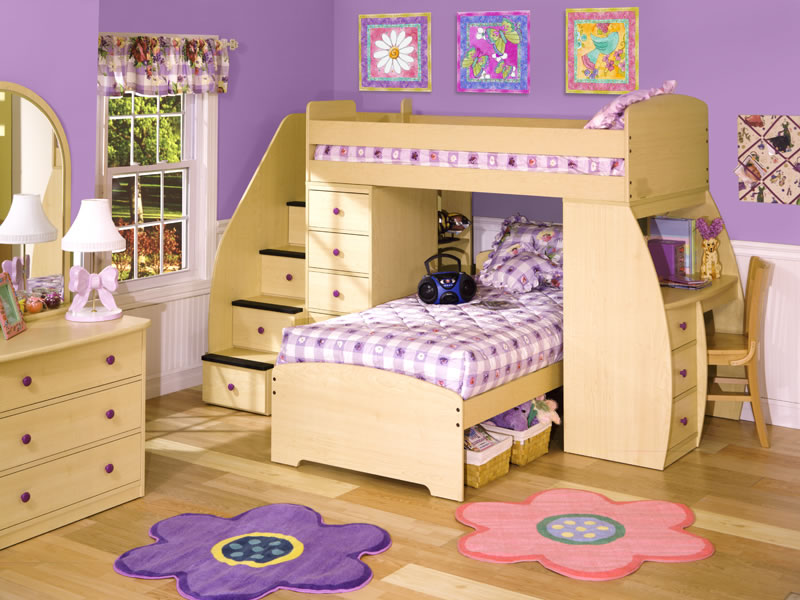 bunk beds with desks for girls plus stairs and wooden chairs with wooden dresser with mirror