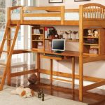 bunk beds with desks with ledder and brown finishing plus beige furry rug and cute decoration