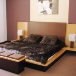 calming brown bedroom color ideas with velvet black bedding sheet with brown leather bench and beige accent and peach siding and white curtain