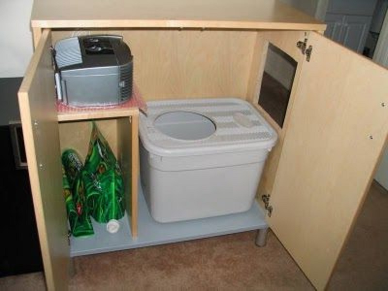 Cat Litter Box Ideas Made Of Plastic Box Decorated Inside Wooden Cabinets