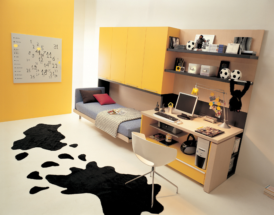 Cheerful Bedroom Ideas With Yellow Painted Wall And Compact Bed With  Cabinets And Small Bedroom Desks