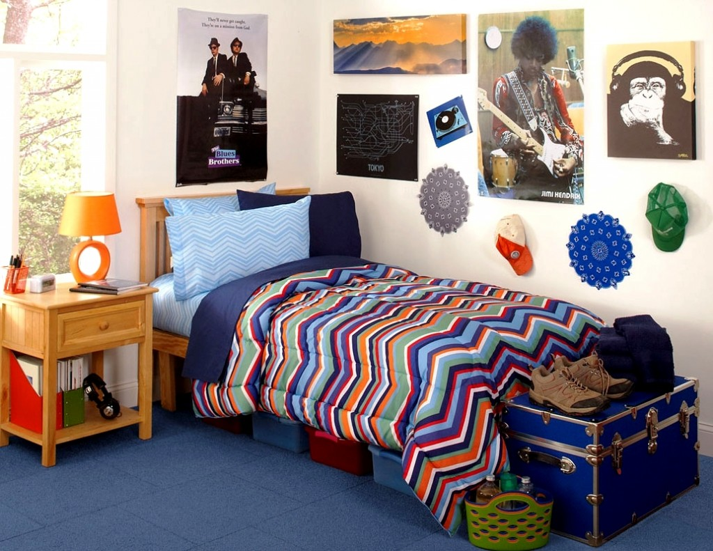 cheerful college dorm room idea wth chevron sheet and blue bedding and wooden nightstand and wall - Dorm Design Ideas