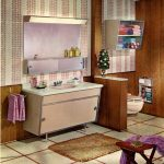 classic bathroom design with purple accent and wallpaper and wooden accent and tile flooring and ute area rug