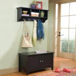 classic black wooden hall storage idea with upper floating racks idea with hooks with black bench and drawers and wooden floor and peach area rug