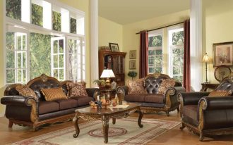 classic interior design with brown leather sofa by queen anne couch idea with crown backrest and wooden coffee table and area rug