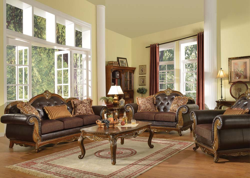 Lovely Classic Interior Design With Brown Leather Sofa By Queen Anne Couch Idea  With Crown Backrest And Part 16