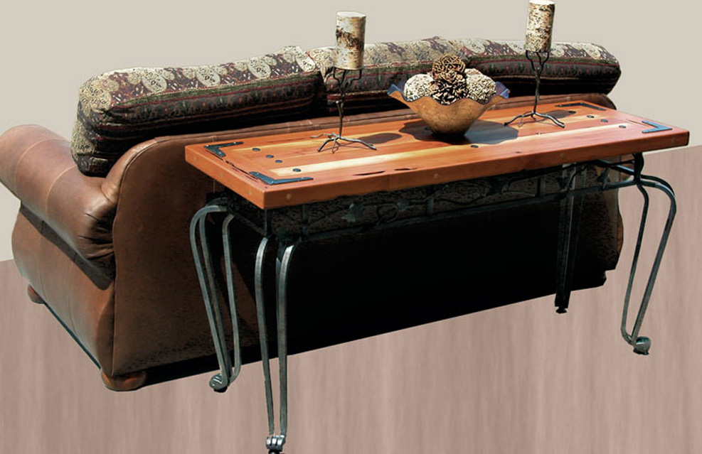 Classic Wrought Iron Sofa Table With Hard Wooden Material Decorated Behind  The Sofa And Adorned With