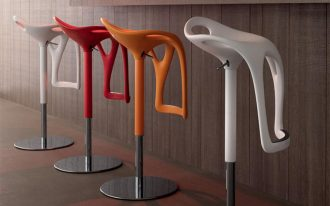 colorful funky bar stools in red white and yellow scheme for adorable kitchen bar ideas