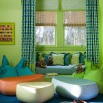 colorful green indoor design with table cloth curtain idea with blue sofa and lemonade white and orange moroccan floor cushion