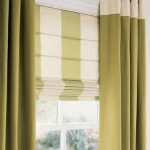 contemporary window valances with grom drape and striped white and lime shade for beautiful home ideas