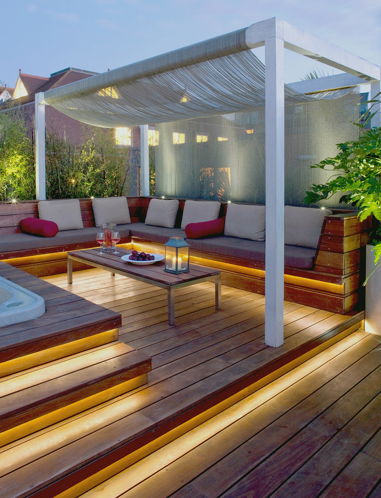 Awesome Outdoor Seating Ideas For Entertaining Part - 6: Contempory Patios With Outdoor Corner Bench And Wooden Flooring Plus  Rectangular Tables Plus Pretty Pergola Decorated