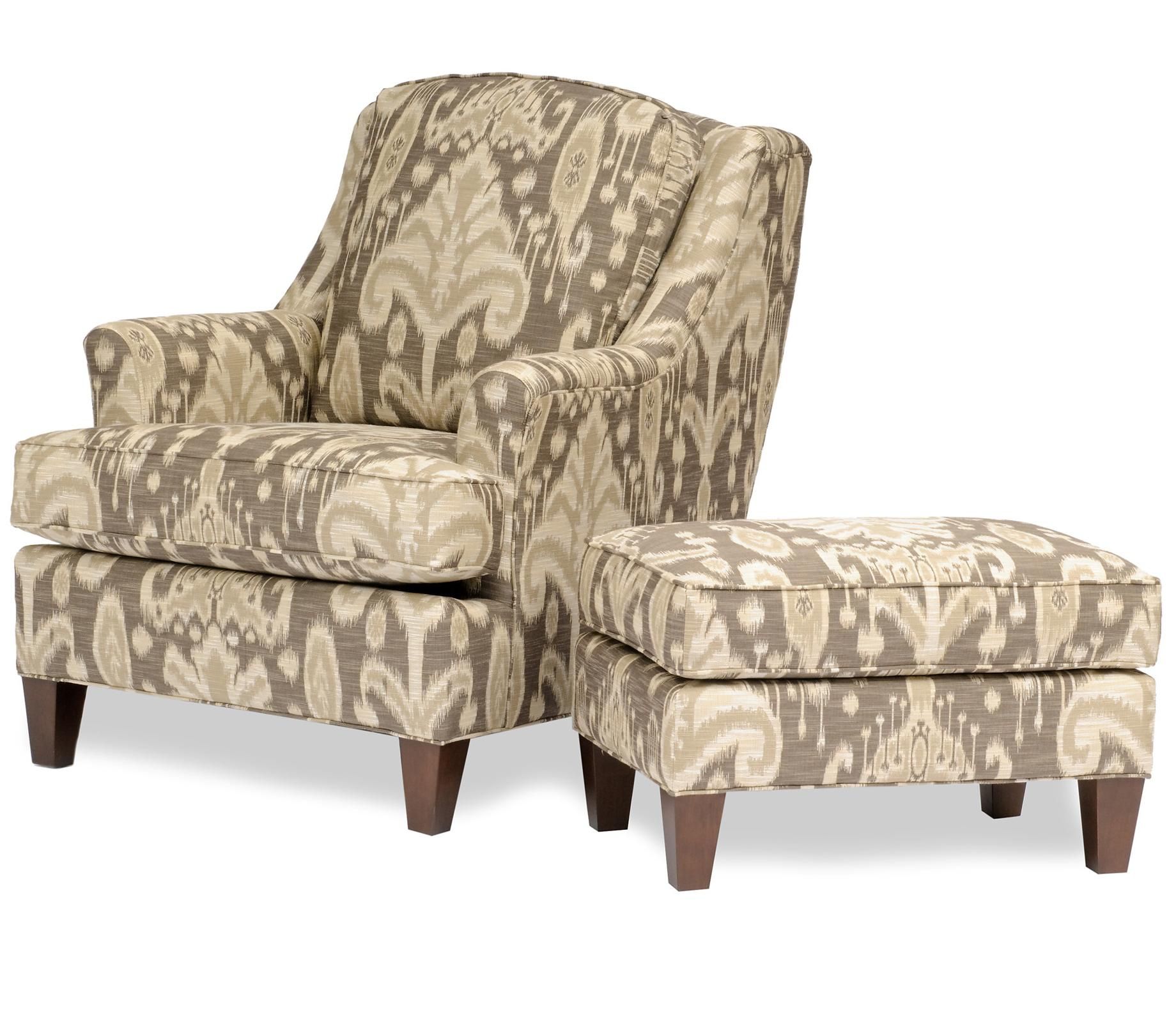 Cool Accent Chairs With Grey Patterned Ottoman Plus Brown Wooden Leg For  Awesome Interior Idea