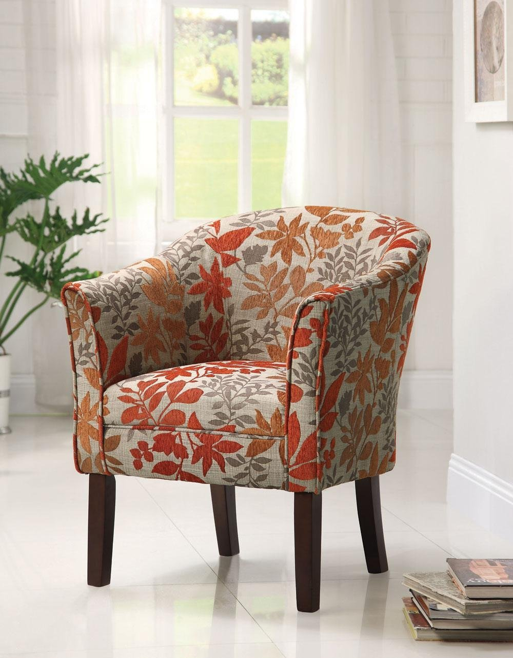 Cool Accent Chairs With Orange Leaf Motif Plus Wooden Leg And Comfy Back Arms