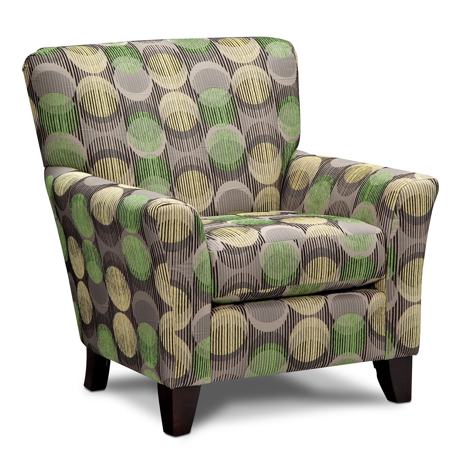 Cool Accent Chairs With Polka Upholstery And Short Wooden Legs And Comfy  Back Plus Arm For