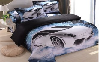 cool comforter sets for boys with car pattern plus white bed side table and cute lamp and light laminate floor