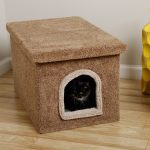 cozy cat litter box ideas made of furry material decorated on the corner of the house with amazing wooded table