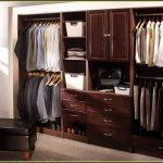 dark brown wooden closet organizer design by Martha Stewart