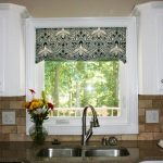 electrifying kitchen ideas with patterned contemporary window valances and metal sink on granite countertop and white kitchen cabinets